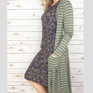 LulaRoe Sarah duster cardigan army green pinstripe